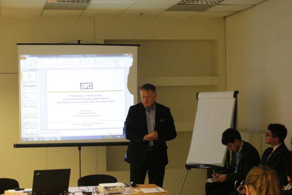 Krzysztof Broda, wiceprezes BFG, na spotkaniu z przedstawicielami sektora bankowego