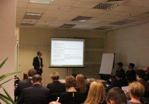 Krzysztof Juzala, pracownik Departamentu Przymusowej Restrukturyzacji BFG podczas spotkania z przedstawicielami sektora bankowego